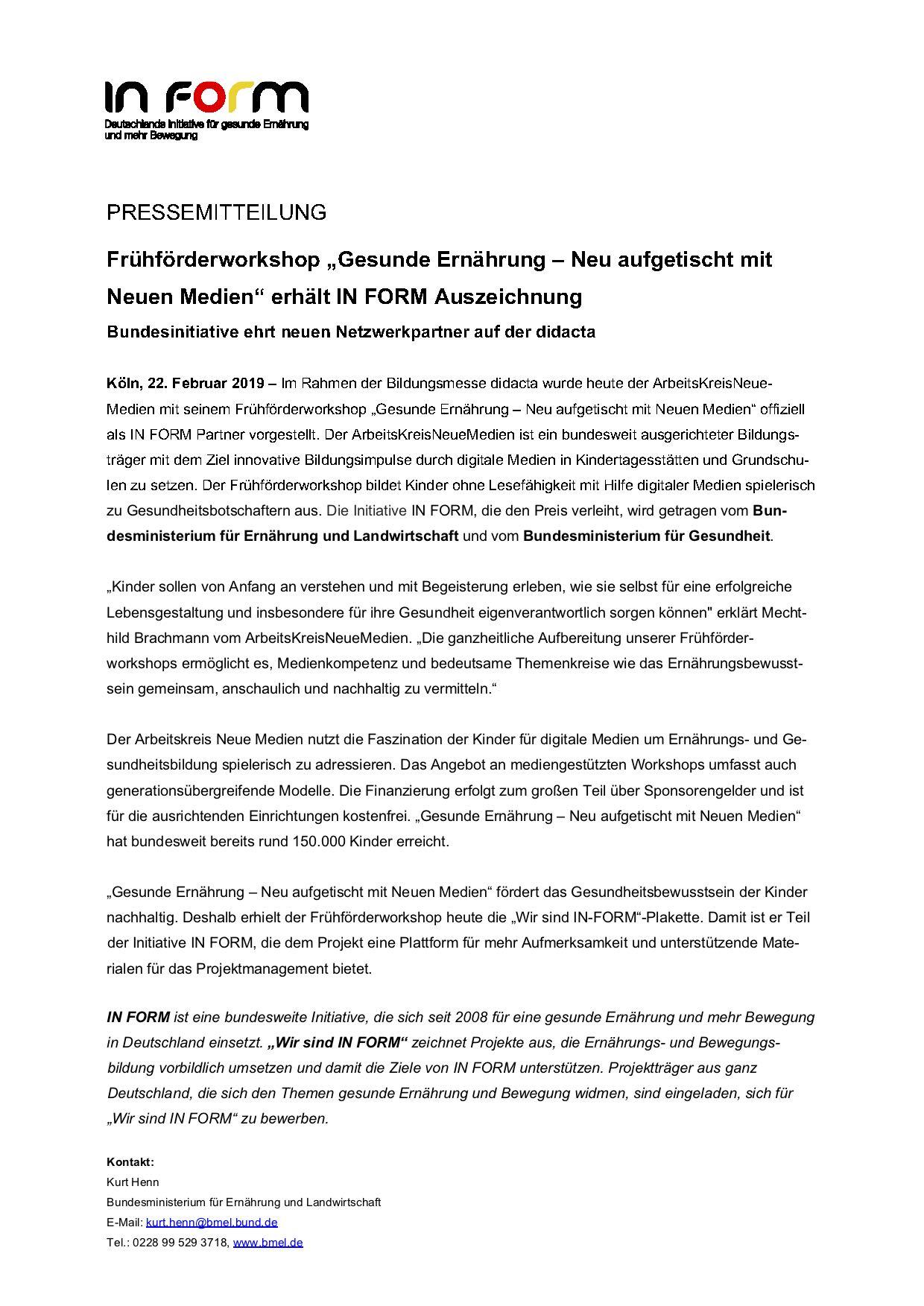 """2019.02.22 - Pressemitteilung IN FORM - Frühförderworkshop """"Gesunde Ernährung"""" erhält """"IN FORM""""-Auszeichnung - Köln"""